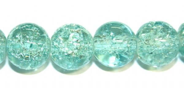 106pcs x 8mm Light turquoise glass crackled beads -- 3005027